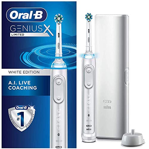 Oral-B Genius X Limited, Rechargeable Electric Toothbrush with Artificial Intelligence, 1 Replacement Brush Head, 1 Travel Case, White