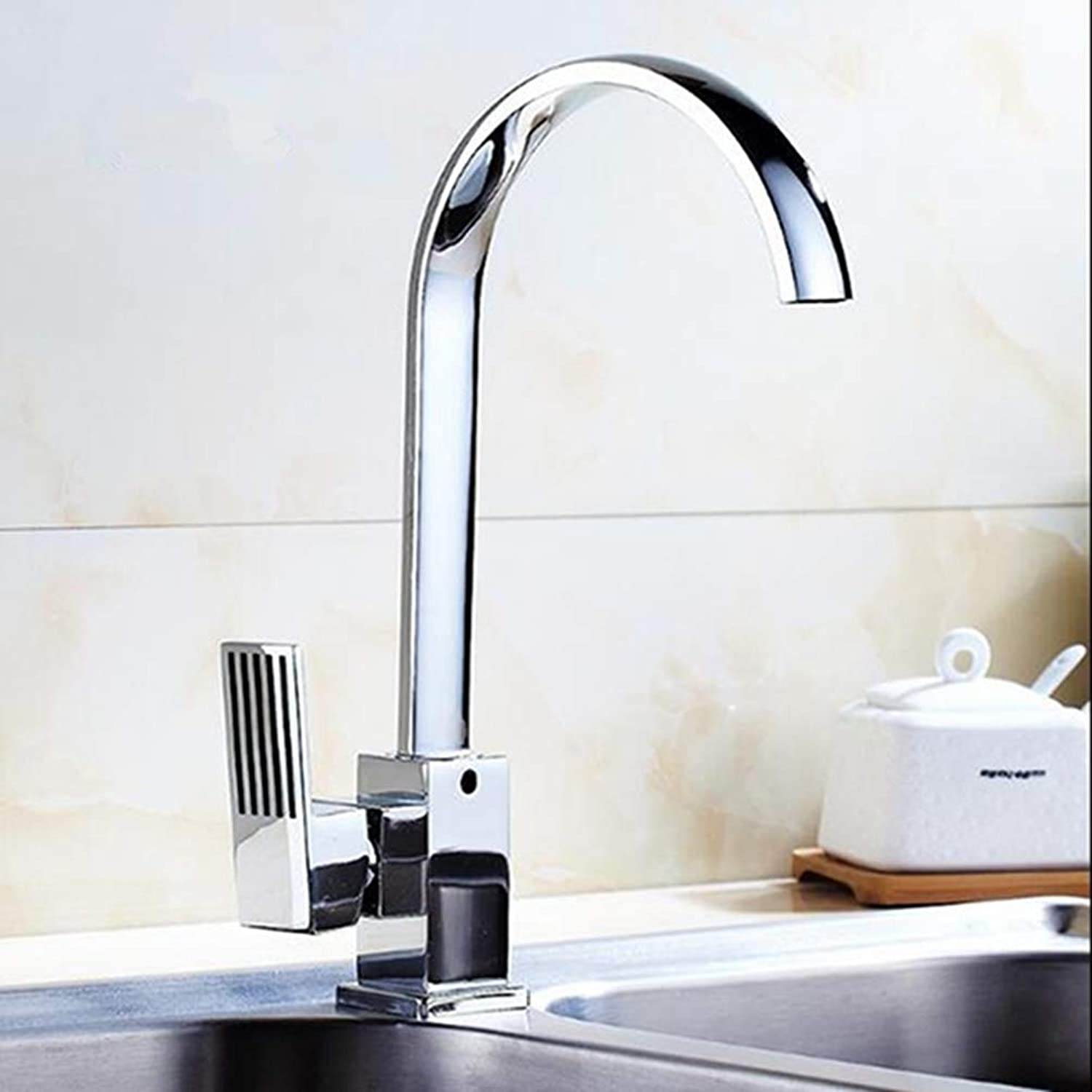 FZHLR Kitchen Faucet Hot and Cold Water Mixer Wash Basin Basin Dual Use Pure Copper Body Basin Faucet 360 Degree Swivel Kitchen Sink Tap Chrome