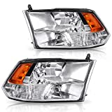 For 09-18 Dodge Ram 1500 2500 3500 Pickup QUAD Headlight Assembly Headlamp Replacement,Chrome Housing with Daytime Running Lamps, ATHA0070
