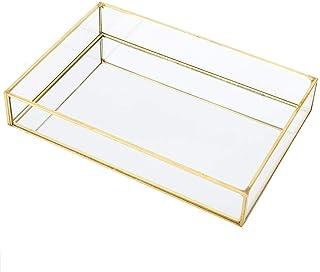 Boîte de rangement en verre en métal vintage, vitrine de bijoux en or à compartiment portable, plateau à bijoux, souvenirs...