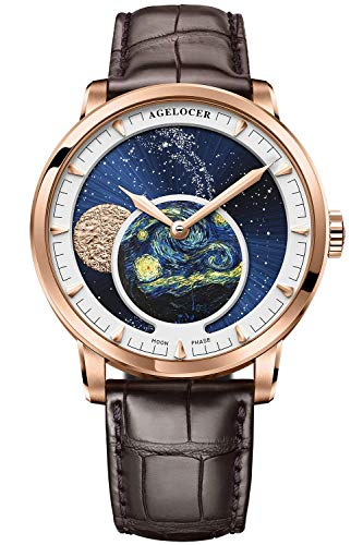 Agelocer Men's Top Brand Genuine Blue Moon Phase Mechanical Masculine Fashion Luxury Wrist Watch...