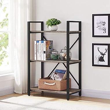 BON AUGURE Small Bookshelf and Bookcase, 3 Tier Industrial Shelves for Bedroom, Rustic Etagere Bookcases (Dark Gray Oak)