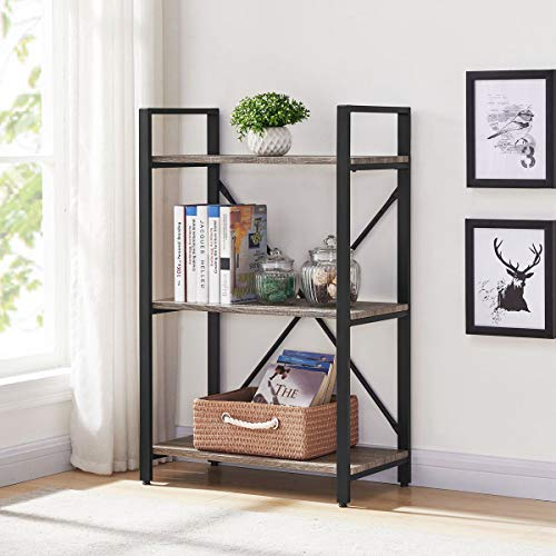 BON AUGURE Small Bookshelf and Bookcase 3 Tier Industrial Shelves for Bedroom Rustic Etagere Bookcases Dark Gray Oak