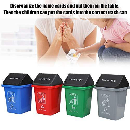 Juguete para bote de basura, Contenedores portátiles de 4 piezas, Juguetes educativos, Mini juguete para clasificación de basura para niños, Bote de basura para aprendizaje educativo de