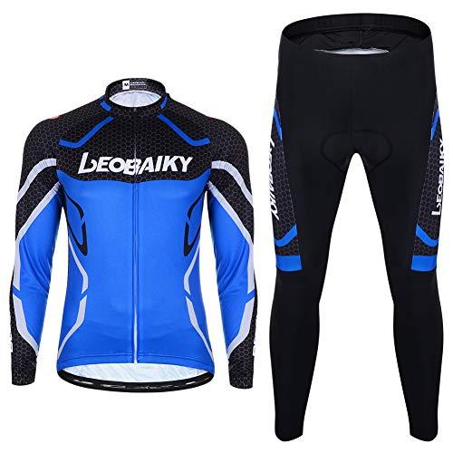 Herren Fahrradbekleidung Set Langarm Fleece Radjacke + Fahrradhose 3D Gepolsterte S - 2XL (Blau, 2XL)