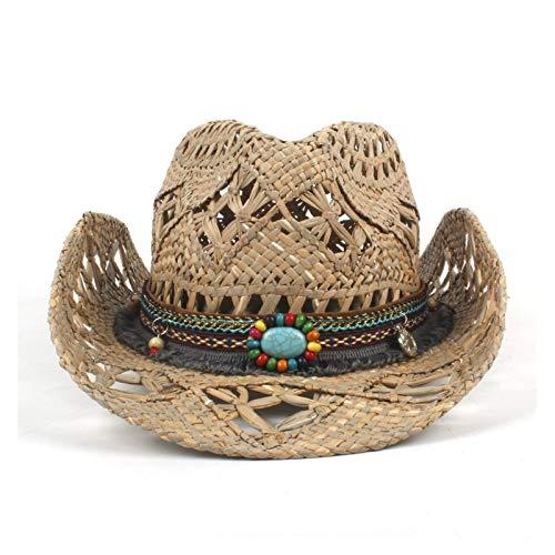 GHC Gorras y Sombreros Mujeres Hombres Formas Sombrero Paja Vaquero Cowboy Cowgirl Hat para Sunmmer Roll Up Sombrero de Sombra de Summer Brim Sombrero (Color : Tan, Talla : 6 7/8-7 1/8)