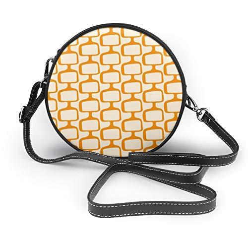 Mid-Century Modularer Tv Screens Creamsicle Round Crossbody Schultertasche Fashion Circle Crossbody Geldbörse Clutch Handtasche