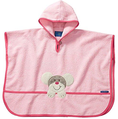 Morgenstern, hochwertiger Frottee - Bade - Poncho aus 100% Baumwolle, Farbe rosa Motiv Maus, Größe one Size (ca. 1 bis 3 Jahre)