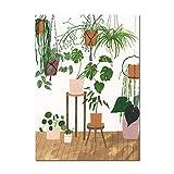 LiMengQi2 Cartel nórdico Moda niña Planta Hoja ilustración Pared Arte Lienzo Pintura e impresión Sala de Estar decoración del hogar (sin Marco)