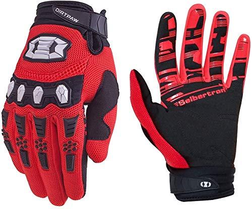 Seibertron Dirtpaw Unisex rutschfeste Bike Bicycle Cycling/Radsport Racing Mountainbike Handschuhe für BMX MX ATV MTB Motorcycle Motocross Motorbike Road Off-Road Race Touch Screen Gloves Red L