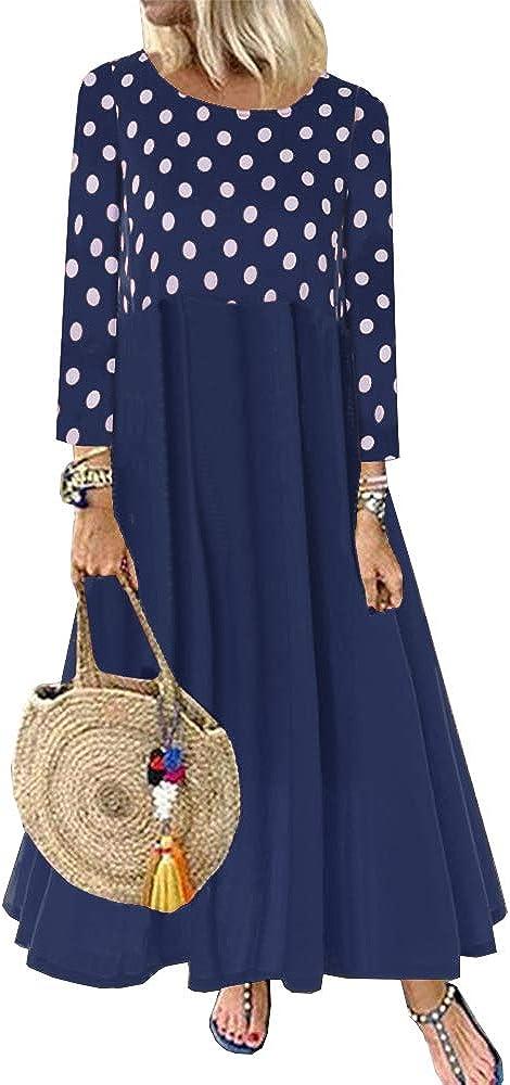 Women's Casual Elegant Maxi Dress Long Dot San Francisco Mall Sleeve Polka Patchwor Save money