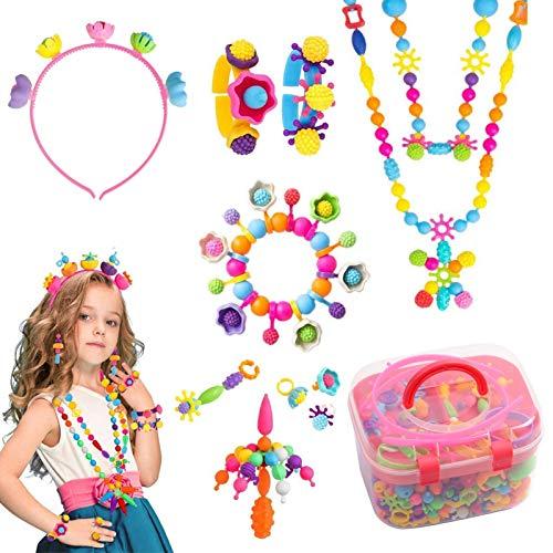 AKlamater Pop Beads DIY Kit para hacer joyas para niños, juego de cuentas para hacer diadema, collares, pulseras, anillos y arte (rojo)
