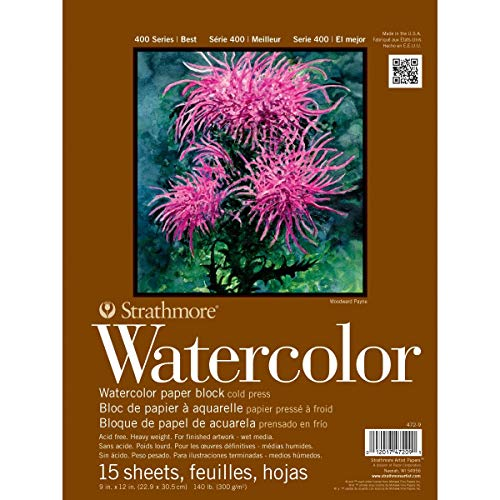 Strathmore 400 Series Watercolor Block, Cold Press, 9'x12' Bound (4 sides), 15 Sheets/Block