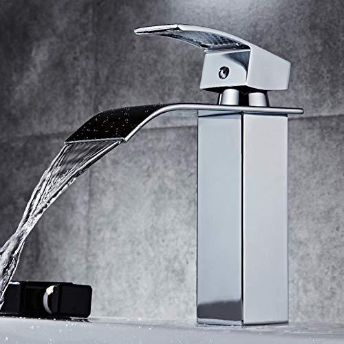 Cascada lavabo fregadero mezclador grifo baño palanca sola manija cromo sin plomo latón grifo (SLT03)