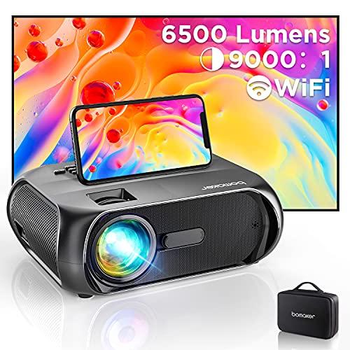 Bomaker Proiettore WiFi, Supporto Nativo Full HD 1080P, Videoproiettore 6500 Lm 720P Nativo con Display 300' per Home Cinema, Mirroring Schermo, per iPhone/Android/Laptop/Lettori DVD/Win10