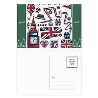 塔ビッグベン・バロンの兵士の英国のランドマークの旗マークイラストパターン グッドラック・ポストカードセットのカードを郵送側20個