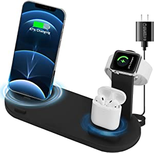 ANKUY 3 in 1 Wireless Charging Station Compatible with Apple Products Multiple Devices Apple Watch SE 6 5 4 3 2 AirPods Pro/2 iPhone 12/11/Pro Max/X/XS/XR/8 Plus QI Fast Charger Stand Dock