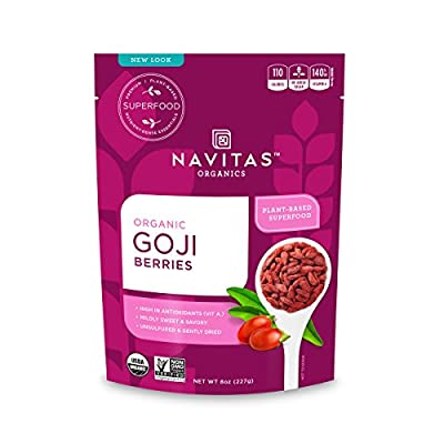 Navitas Organics Goji Berries, 8 oz. Bag, 8 Servings — Organic, Non-GMO, Sun-Dried, Sulfite-Free