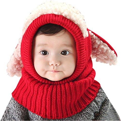 Invierno del bebé Niños Chicas Chicos Tejido Gorro Punto Caliente Lana Cofia Capucha Bufanda Caps Sombreros (Rojo)
