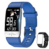 Fitness Tracker,Smart Watch with Body Temperature Thermometer Heart Rate Blood Oxygen Blood Pressure Monitor,Pedometer Watch with Sleep Monitor, Step Tracker for Kids Women Men (v-Blue+Black)