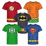 DC Comics Camiseta con los Superhéroes de la Justice League - Batman, Superman, Flash, Green Lantern y Aquaman para Niños (Pack de 5), Multi 5 Años