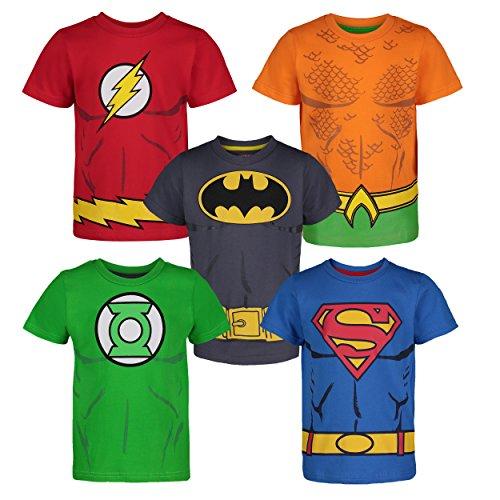 Colorido paquete de 5 camisetas con los súper héroes de la Liga de la Justicia, Batman en gris y Amarillo, Superman en azul, Linterna Verde, Flash en rojo y una naranja de Aquaman Maravillosa serigrafía con el logo del héroe, músculos y cinturón util...