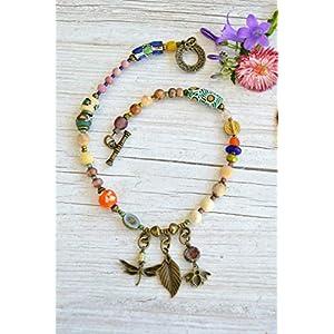 Damen-Perlenhalskette mit Libelle, Biene und Blatt, böhmischer Schmuck