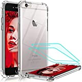 LeYi Funda iPhone SE 2020/6 / 6S / 7/8 / con [2-Unidades] Cristal Vidrio Templado, Transparente Shockproof Carcasa Silicona PC y TPU Slim Gel Bumper Cover Case para Movil Apple iPhone 8,Clear