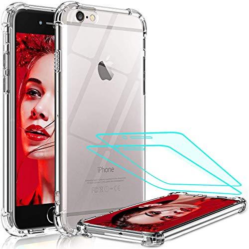 LeYi per Cover iPhone SE 2020/8/7, Cover iPhone 6/6S con Vetro Temperato [2 Pack], Custodia Silicone Trasparente Hard PC Bumper TPU Protettiva Case per Apple iPhone SE 2020/8/7/6/6s Crystal Clear