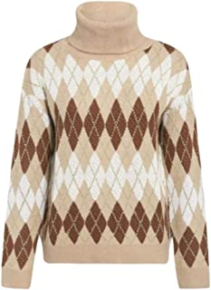 AHJSN Women Christmas Sweater Vintage Geometrical Turtleneck Pullover Jumper Autumn Winter Ladies S White