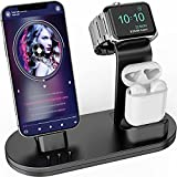 OLEBR 3 in 1 Charging Stand iwatch Stand, Charging Station Compatible with iWatch SE/6/5 /4/3 /2/1, AirPods Pro and iPhone Series 12/11/ X /8/7 /6S /5 Black