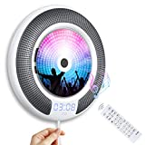 Lettore CD Portatile Bluetooth Gueray Montabile a Parete Altoparlante Hi-Fi Integrato Bluetooth con Telecomando Radio FM Ingresso 3,5mm Cuffie USB mp3 Alimentazione on/off con interruttore a tirette