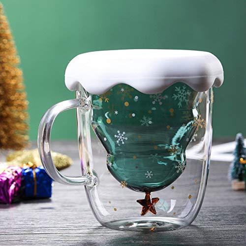 Taza de café con aislamiento térmico de 300 ml, doble capa, antiquemaduras, de cristal, con diseño de árbol de Navidad, con diseño de cielo estrellado