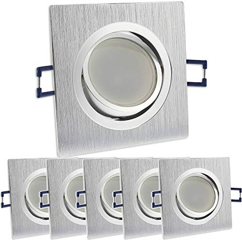 6x LED Einbaustrahler Set eckig - silber gebürstet 5 Watt kaltweiß dimmbar 230V flach (30mm Tiefe) – Einbauleuchte schwenkbar Ø 70mm Bohrloch – Einbau-Spot neu Decken-Strahler