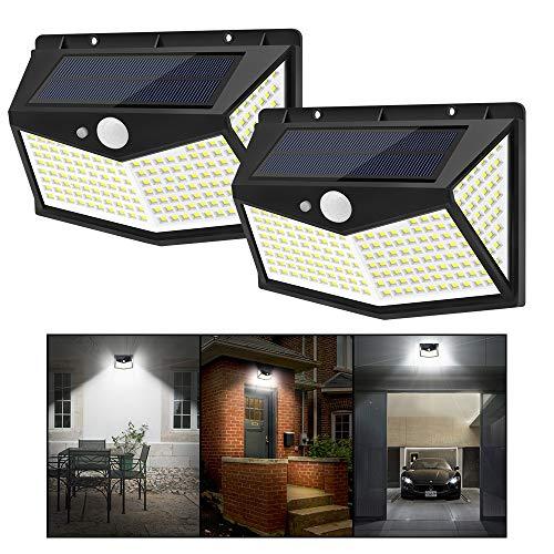 JKZJ 212 LED Solarlampen für Außen mit 3 Optionale Modi, Verbesserte Wasserdichte Kabellose Außenleuchte mit Bewegungsmelder Wandleuchte Solarleuchten Garten