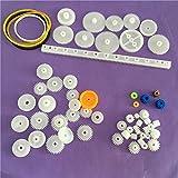 without brand 60pcs K012Y plástico Gear Set DIY Estante polea Gusano Individual Doble Engranajes (Color : AS Show)