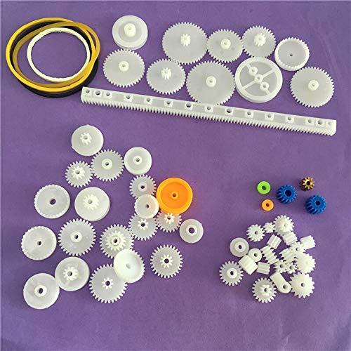 X-BAOFU, 60pcs K012Y plástico Gear Set DIY Estante polea Gusano Individual Doble Engranajes (Color : AS Show)