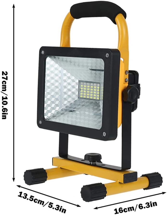 Projecteur Chantier LED Rechargeable 30W 1000LM Projecteur Portable avec Support Pliable Lamp de Travail Rotation /à 360/° pour Ext/érieur Camping P/êche Travaux Randonn/ée 30W