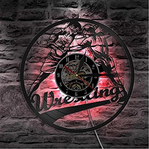 LTMJWTX Reloj de Pared con Registro de Vinilo Deportivo de Combate con gramófono para Hombres de Lucha, Reloj de Pared Iluminado con diseño Moderno de Lucha Libre, Reloj Colgante
