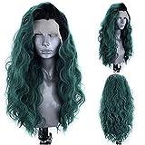 Peluca larga ondulada Ombre Peluca frontal de encaje sintético verde con raíces negras Pelucas de cosplay para mujeres-24 pulgadas