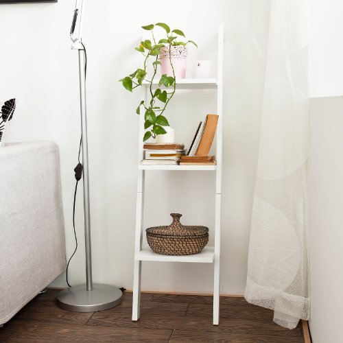 SoBuy FRG32-W Kleines Leiterregal mit drei Böden Standregal Wandregal Bücherregal weiß BHT ca.: 33,5x121x23cm