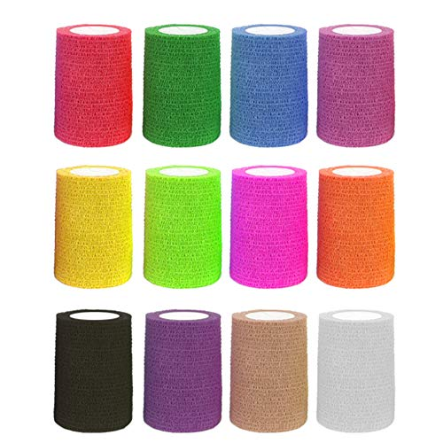 12 Pieces Adhesive Bandage Wrap Stretch Self-Adherent Tape Cohesive Wrap Bandage Flexible Stretch Tape Athletic Strong Elastic First Aid Tape for Wrist, Ankle Sprains, Swelling 5 Yards Each(3INCH)