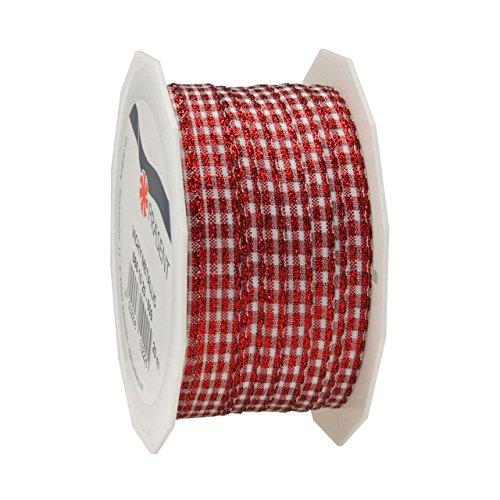 Prasent Nastro per Pacchi Natalizi Decoro Bianco Rosso 10mmx20mt 6661020634