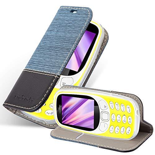 Cadorabo Hülle für Nokia 3310 in DUNKEL BLAU SCHWARZ - Handyhülle mit Magnetverschluss, Standfunktion & Kartenfach - Hülle Cover Schutzhülle Etui Tasche Book Klapp Style