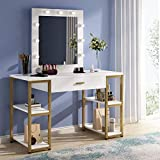 Tribesigns Gold Vanity Table with Lighted Mirror, White Makeup Dressing Table with Large Drawer and Storage Shelf, Dresser Table for Women (White)