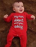 Pijama de bebé divertido para niños o niñas | Nueva novedad My Mum Doesn't Want Your Advice Baby Shower – baby shower, ropa de recién nacido regalo de primer cumpleaños | Baby Moo's (3-6 meses)