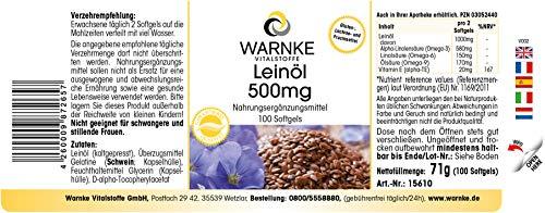 Aceite de Linaza 500mg – Prensado en frío – 58% de Ácido Alfa – Linoleico – Ácidos grasos Omega 3 – 100 cápsulas