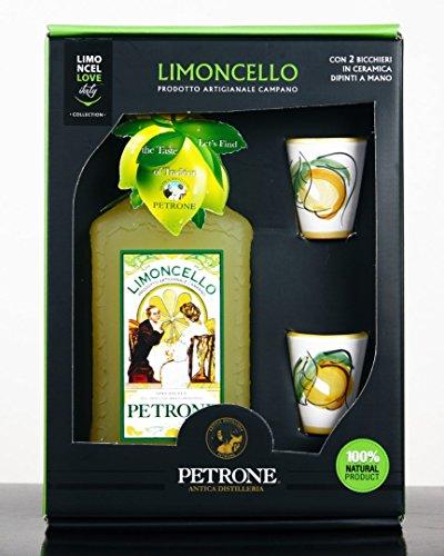 Limoncello, 100% natürlich mit Keramik-Gläsern aus Vietri sul Mare, von Hand bemalt