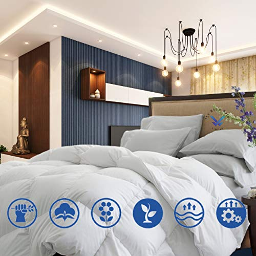 100% Real NATURAL DUCK FEATHERS & DOWN filling Duvet BLANKET, 13.5 Tog Machine Washable + Natural Cotton Cover – Premium Hotel Quality - Best Gift Idea (Duck Duvet Set, King Size Bed)