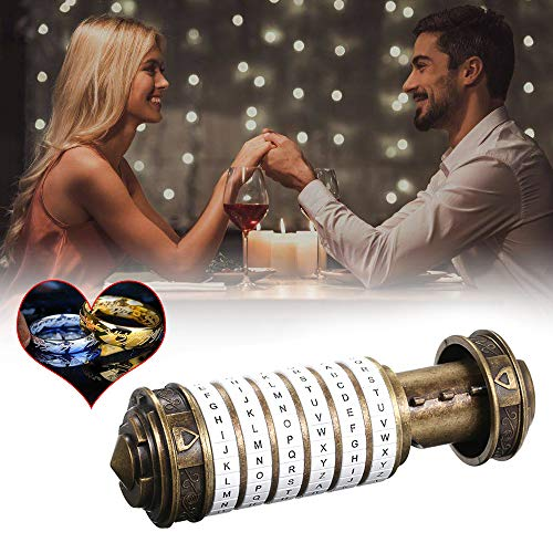 yorten Mini Cryptex Locks Alphabet Password Cylinder Code Toys Wedding Gifts Valentines's Day Interesting Creative Romantic Birthday Gifts Three Kinds of Types